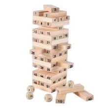 купить 54PCS/set Wooden Tower Building Blocks Toy Rainbow Domino Stacker Board Game Folds Superimposed Educational Children Toys по цене 577.48 рублей