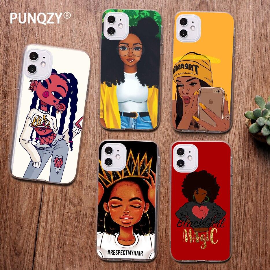 Punqzy Black Girl Melanin Poppin Queen Art Phone Case For Iphone