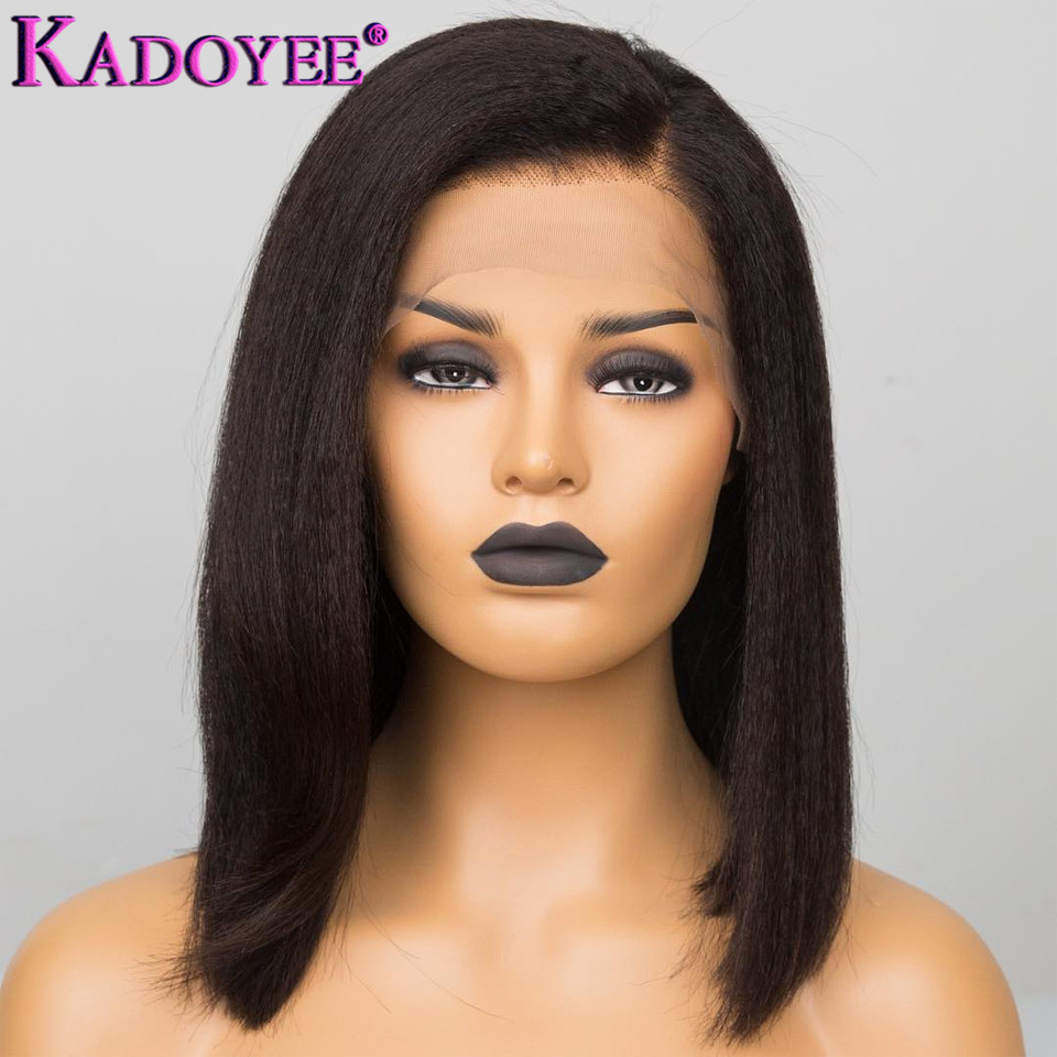 Yaki Straight Human Hair Wig Short Bob Lace Front Wig 13x4 Frontal Wig Remy Hair Brazilian Lace Wig Pre-plucked For Black Women