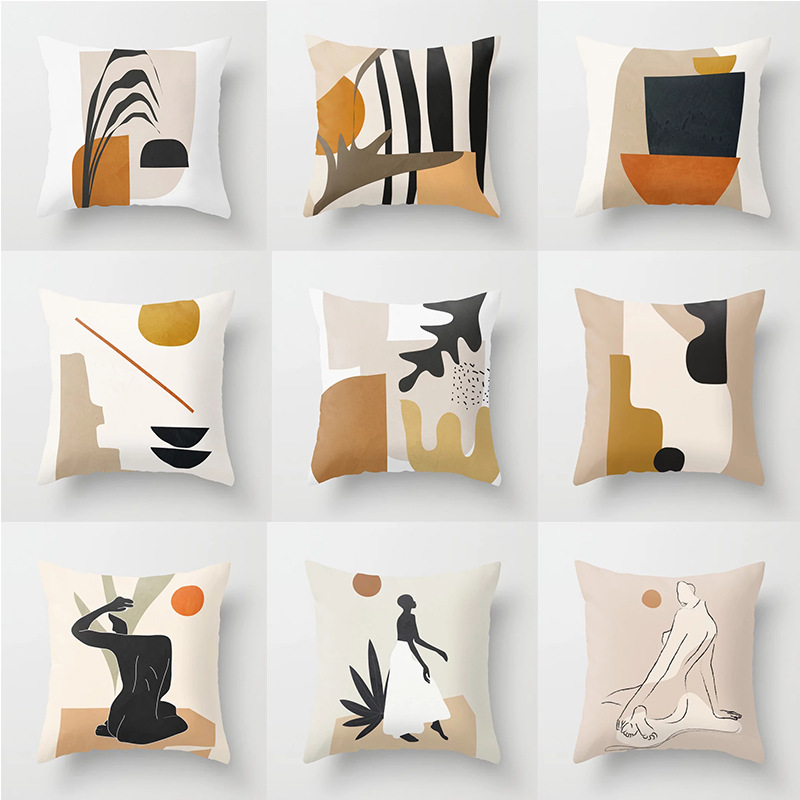 18'' Geometric Nordic Cushion Cover Tropic Modern Art Throw Pillow Cover Polyester Cushion Case Sofa Cafe Decorative PillowCover