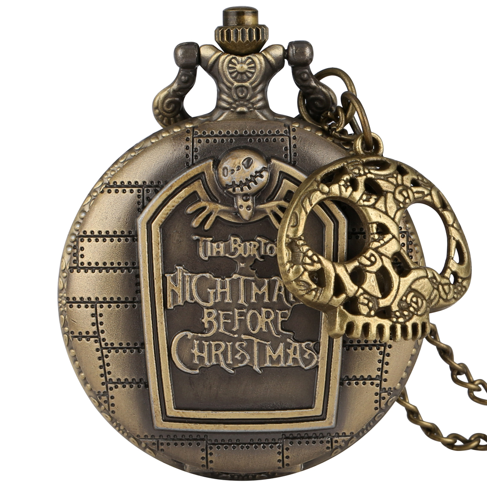 Antique Bronze Quartz Pocket Watch Skull Accessory Steampunk Pendant Necklace Chain Clock Fob Watches Men Women Retro Gifts
