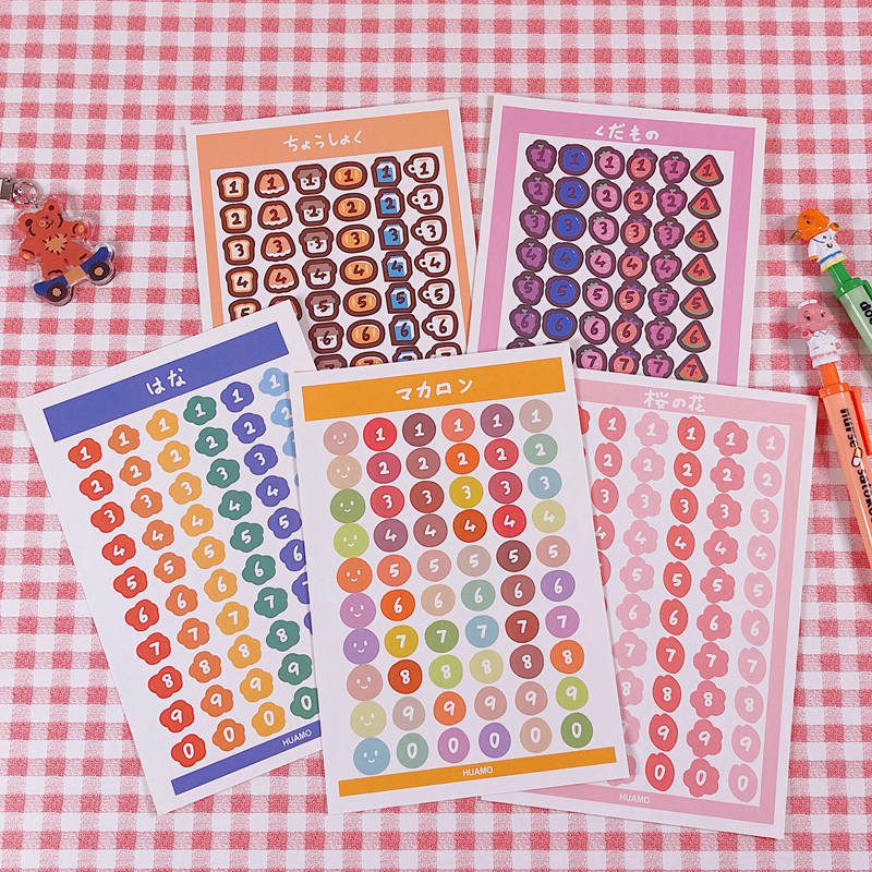 60pcs/page Cartoon Colorful Number Sticker DIY Scrapbooking Week Album Diary Happy Planner Decoration Journal Phone Sticker