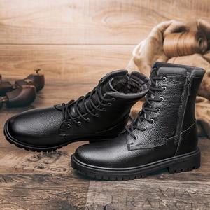 Image 3 - 2020秋冬メンズミリタリーブーツカジュアル本革の靴男性戦闘アーミーブーツ男雪のブーツビッグサイズ36 48