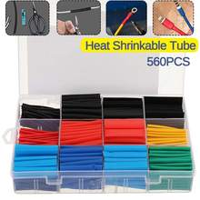 560 Pcs Heat Shrink Tubing Insulation Shrinkable Tubes 2:1 Electrical Wire Cable Wrap Assortment Electric Insulation Sleeve Kit