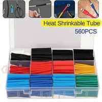 560 Pcs Schrumpf Schlauch Isolierung Schrumpf Rohre 2:1 Elektrische Draht Kabel Wrap Sortiment Elektrische Isolierung Hülse Kit