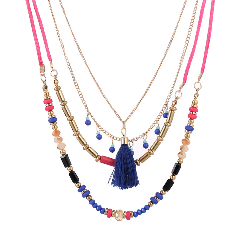 Blue Tassel Pendents Necklace Women Chic Bohemiam Rose Pink Color Long Statement Necklaces Rainbow Colorful Beads Chain