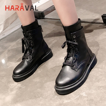 HARAVAL Black Classic Lady Ankle Boot Handmade Round Toe Genuine Leather Buckle Shoes Retro Winter Lace-up Motorcycle Boots B214