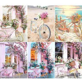 5D DIY diament malarstwo różowy rower i kwiat krajobraz diament inkrustowane artystyczny obraz rzemiosła ze strasu zestaw prezent dekoracji wnętrz tanie i dobre opinie QIZITENG OBRAZY CN (pochodzenie) Kolorowe pudełko Pojedyncze Z żywicy Pełna Malownicza sceneria Zwijane 30-45 Okrągły