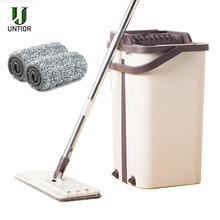 UNTIOR Magic Automatic Spin Mop Avoid Hand Washing Ultrafine Fiber Cleaning Cloth Home Kitchen Wooden Floor Lazy Fellow Mop цена и фото