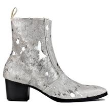 Ankle-Boots Horse-Hair Men Chelsea Side-Zipper Designer Leopard with Footwear-Color Silver
