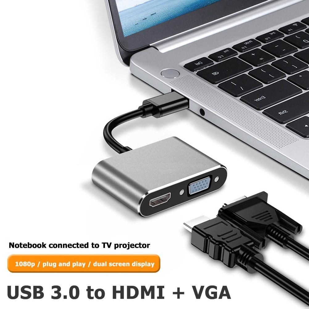 HW1508 USB 3.0 To HDMI VGA Converter 2-in-1 1080P Audio Video USB Adapter
