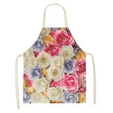 Delantal de flores para hombre y mujer, delantales coloridos de lino y algodón con flores para cocina, hogar, cocina, accesorios de limpieza para hornear, 66x47cm, 47x38cm