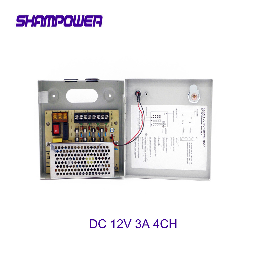 4 Channels DC 12V 3A 4CH UPS Channel Switch Power Supply Box for CCTV Camera Security Surveillance - CCTV Security Accessories