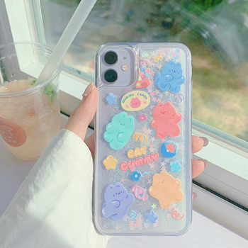 Glitter Dynamic Liquid Phone Case Fashion New Year Gift for IPhone 12 11 Pro 6 7 8 Plus X XR XS MAX Candy Cat Quicksand Cover 1
