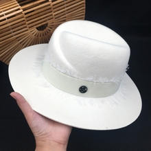 Sombrero de encaje de alta calidad para dama, gorro de lana de Panamá, color blanco
