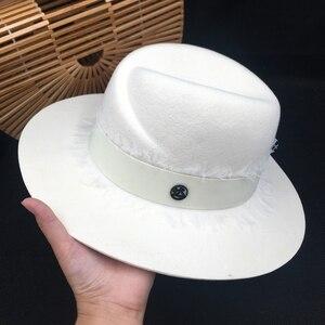 Image 1 - Yaz moda m fedoras beyaz kadın şapka yüksek kaliteli dantel güneş gölgeleme güneş koruyucu yün Panama