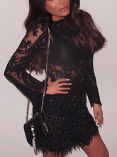 цена на 2020 New Style Fashion Black Long Sleeve See Through Lace Top With Faux Fur Skirt Set