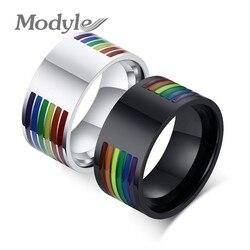 Modyle grawerowanie nazwa spersonalizowany ślub pierścionki dla kobiet mężczyzn czarny kolor srebrny stal nierdzewna zaręczyny Rainbow biżuteria
