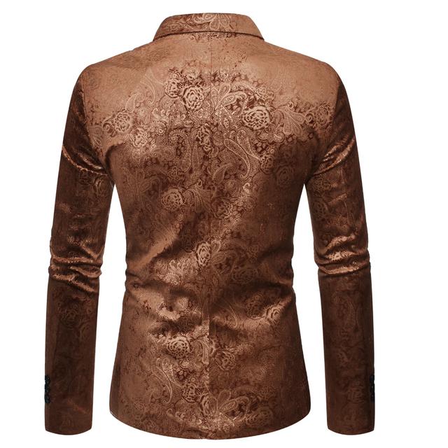 Plus Size Autumn Slim Blazer Men Masculino Printed Floral Blazers Jacket New Stage Wedding Formal Casual Button Men's Coats Male