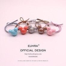 EUHRA 5 цветов Акриловые Блестящие головы Микки Минни для девочек женские эластичные резинки для волос Детские резинки высокая эластичность