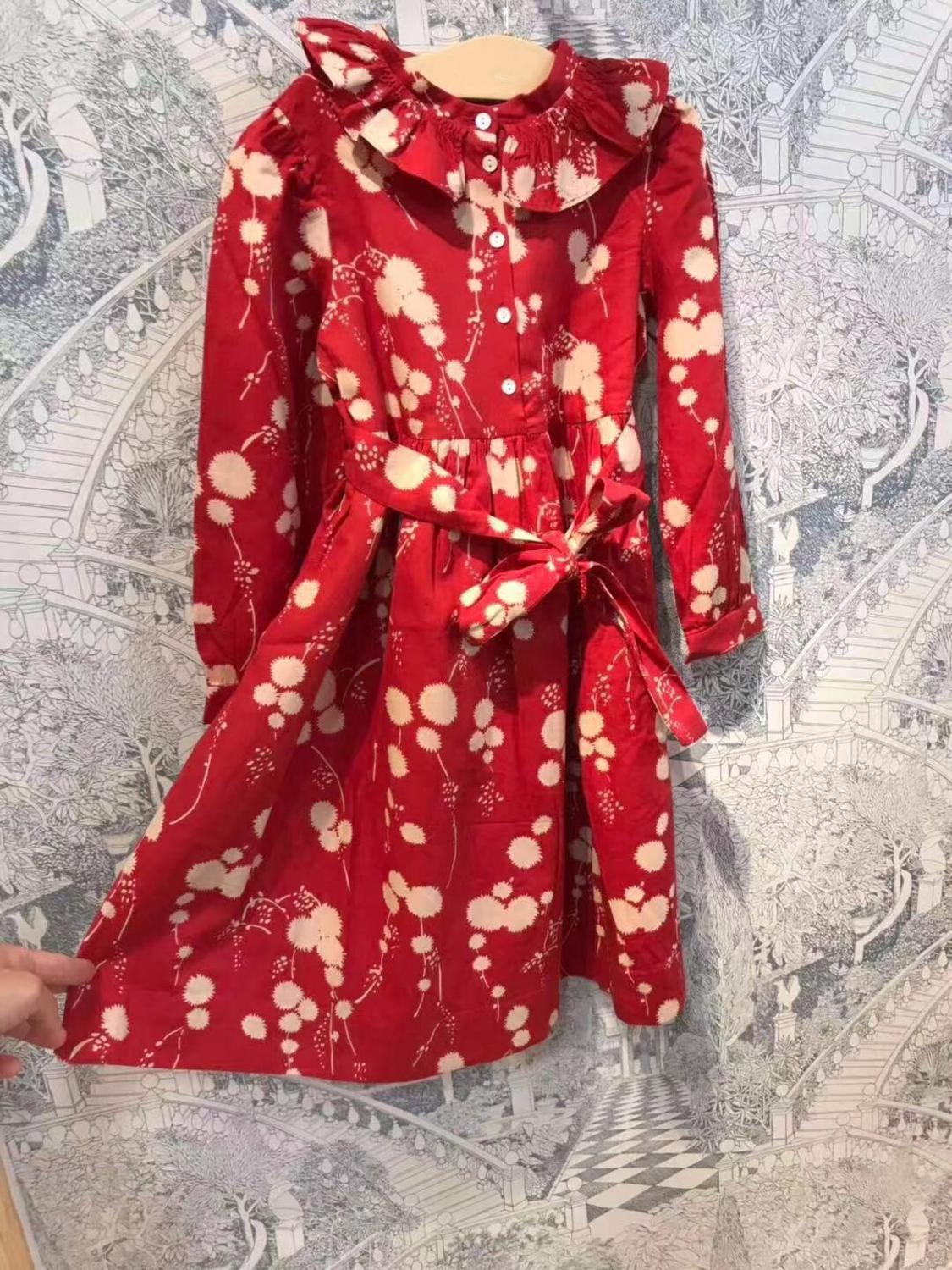 Girls Dress Daughter Clothing Printed Boutique Family-Look Red Mon Brand Dandelion Cherry