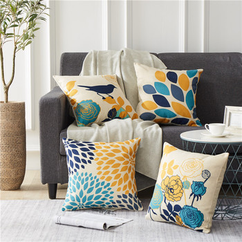 Flower Bird Printed Cushion Covers Decorative Pillow Cases Bed Cotton Linen Throw Covers Pillows For Home Decor Sofa Chair 45X45 boho pillow case cotton embroidered throw pillow covers decorative cushion cover 45x45cm for sofa bed chair home decor