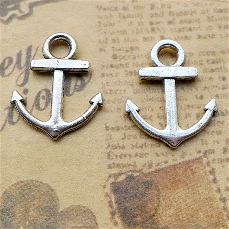 200Pcs/lot Antique Silver Anchor Charms 18.6*5.5MM Bamoer Navigational Charms for Jewelry Making