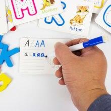Алфавит буквы карты искусственные головоломки Деревянные Монтессори