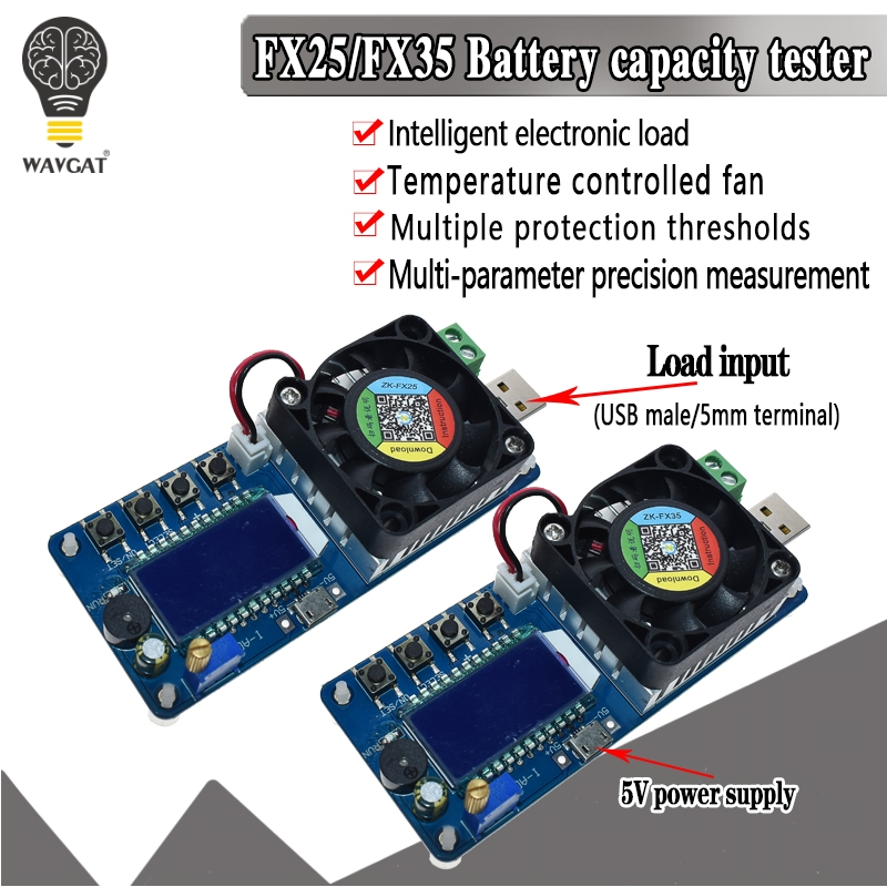 25W 35W 4A/5A Electronic Load Current Voltage Power Tester USB Protection LCD HD Display Adjustable Resistance Unloader