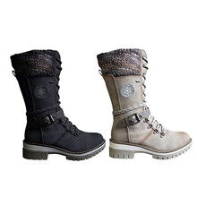 1 Pair Of Women Mid Height Leather Boots For Winter Autumn And Spring Warm Winter Boots With Side Zipper