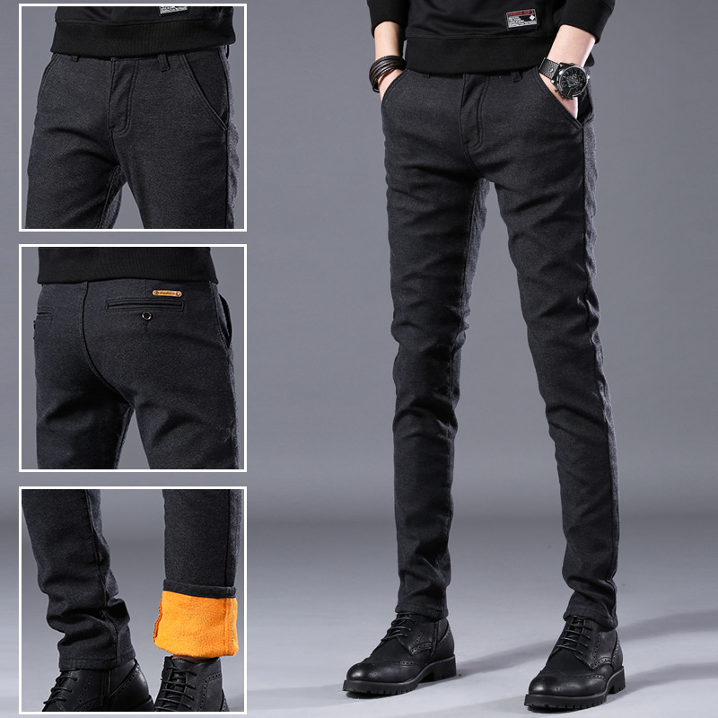 Winter Casual Pants Men's Brushed And Thick Brushed Elasticity Skinny Men'S Wear Warm Men Korean-style Fashion Cotton Linen MEN'