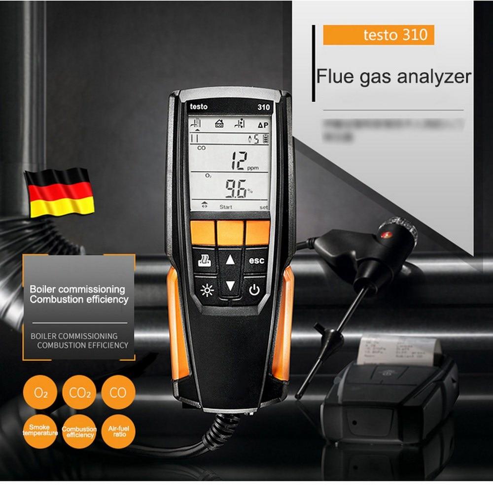 Rango de medición Testo 310 0 a 4000 Ppm Analizador de combustión de Gas de combustión Detector O2/C/CO2 sin herramientas de prueba industriales de impresora