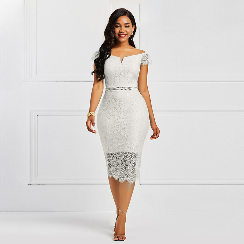 White Off The Shoulder Elegant Cocktail Dress Short Sleeves Zipper Up Mermaid Tea Length Party Formal Women Cocktail Dresses
