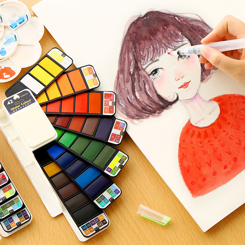 Foldable Travel Solid Watercolor Paint Set With Water Brush Pen Water Color Pigment For Draw