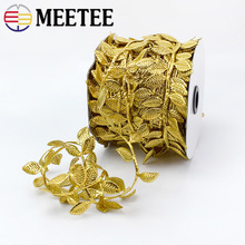 Meetee 10/50Meters 4cm Golden Silver Leaf Trim Ribbon Lace for DIY Scrapbook Wedding Home Garment Decoration Gift Wrapping C5-20