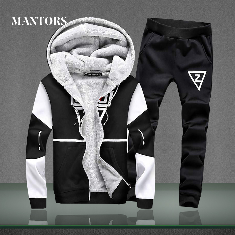 Winter Fleece Set Men 2018 Casual Jackets+Pants Two Pieces Sets Male Warm Thick Hoodies Sportswear Tracksuit Moleton Masculino