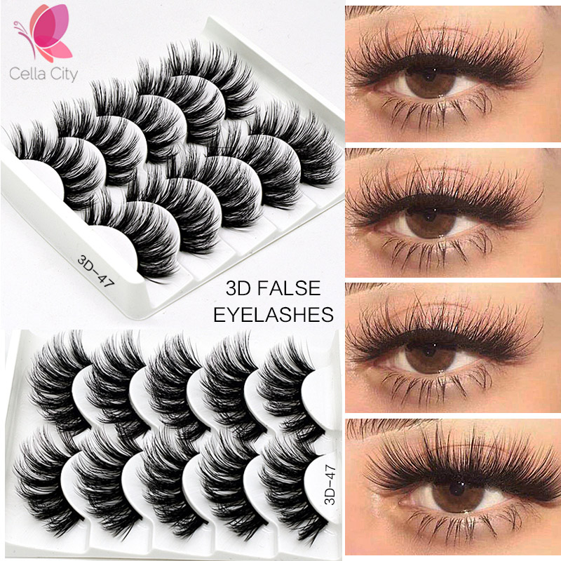 Cellacity 5Pairs 3D Mink Hair False Eyelashes Natural/Thick Long Eye Lashes Wispy Makeup Beauty Extension Tools