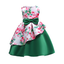 Girl Party Dress Green Dress 2018 Summer Irregular Floral Long Bow Kids Teen Tunic Party Girl Princess Evening Christmas Dress tanguoant spring and summer girl dress black and gray irregular hem dress long sleeves solid dress for kids