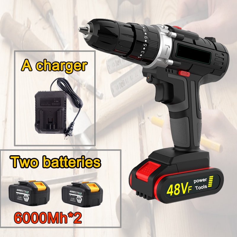 Impact Brushless Two-speed Rechargeable Drill, Household Handheld Electric Drill, Pistol Drill Electric Tool, Electric Screwdriv