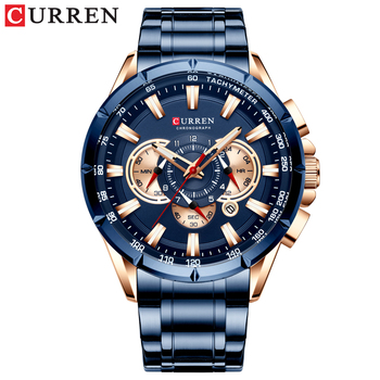 CURREN New Causal Sport Chronograph Men's Watches Stainless Steel Band Wristwatch Big Dial Quartz Clock with Luminous Pointers 15