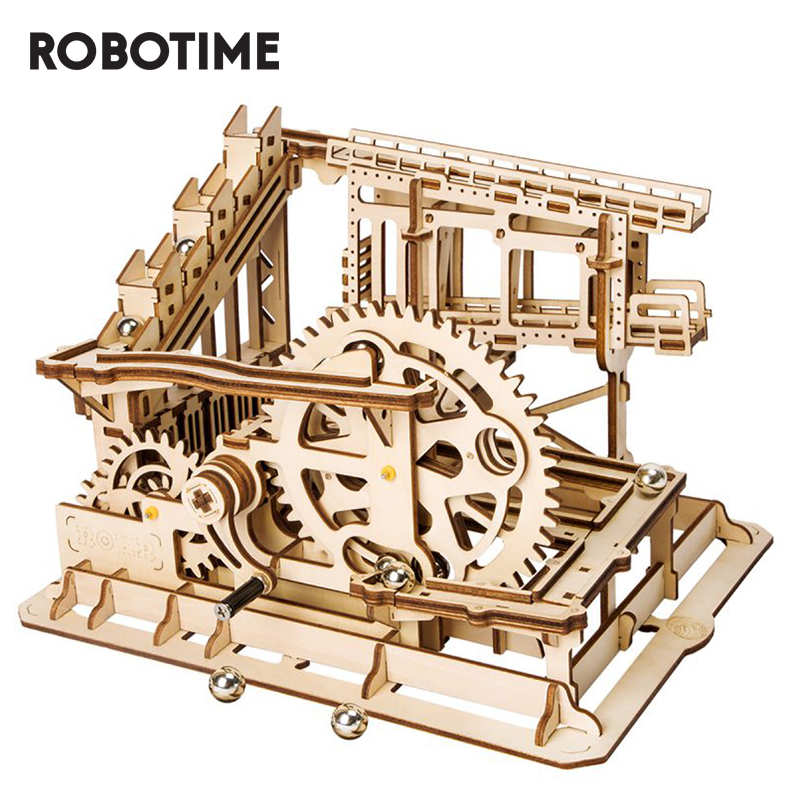 Robotime DIY Marble Run Game 3D Wooden Puzzle Gear Drive Cog Coaster Model Building Kit Toys For Children Adult LG502