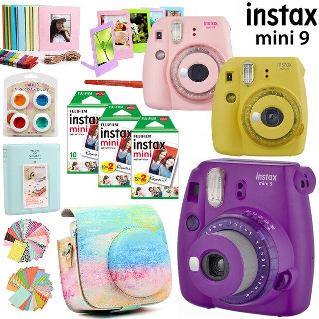 Fujifilm instax Mini 9 Camera Purple/Pink/Yellow with 50 sheets instax mini film photos /13 in 1 kit Accessories Case Bag