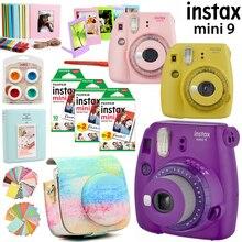 Fujifilm instax Mini 9 kamera mor/pembe/sarı 50 yaprak instax mini film fotoğraf/13 1 kiti aksesuarları durumda çantası