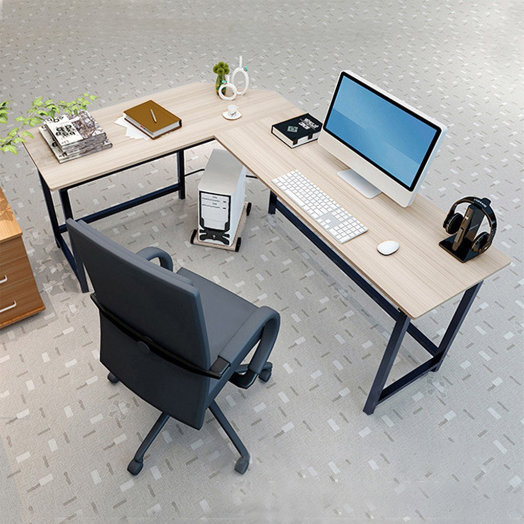- 2020 New Home Office Corner Desk Computer Table Steel Wood Study