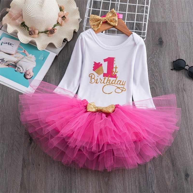 Праздничная одежда для новорожденных девочек 1 год топы с Минни Маус + платье-пачка + повязка на голову, комплект из 3 предметов платья для крещения для маленьких девочек