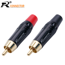 Speaker-Plug Connector Cable Audio-Adapter Black Rca Male Pigtail Plating Gold 200pcs
