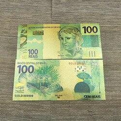 10 шт./лот цветные бразильские банкноты 100 Золотая фольга банкнота позолоченная копия денег для коллекции подарков сувениры Прямая поставка