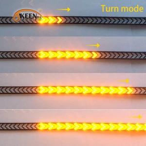 Image 4 - OKEEN רכב LED טנדר חץ אדום LED זורם צהוב איתות מנורת סריקה בלם LED אור בר 100cm הפוך זנב אור הרצועה