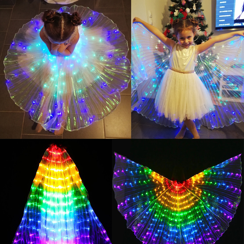 Girls Belly Dance LED Isis Wings Egyptian Indian Club Light Up Dancing Wings Stage Performance Prop