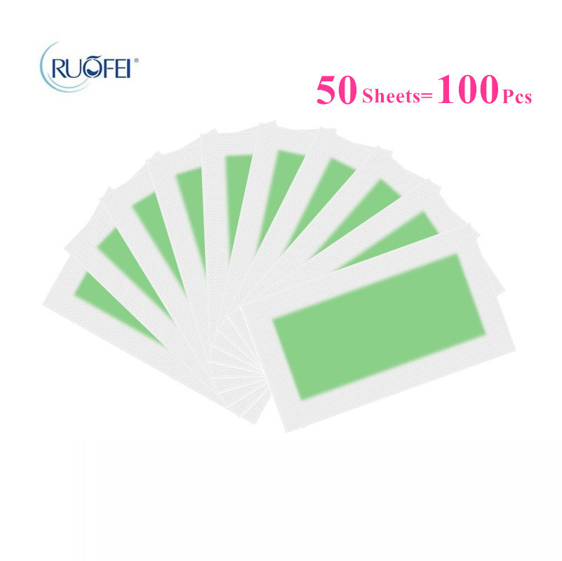 100pcs=50sheets Green Color Hair Removal Paper Double Side Cold Wax Strips Paper For Leg Body Skin Care